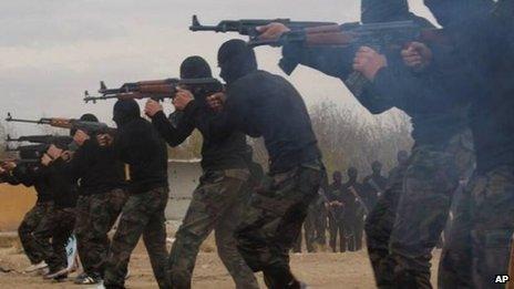 Undated image of Ahrar al-Sham rebels training in Syria