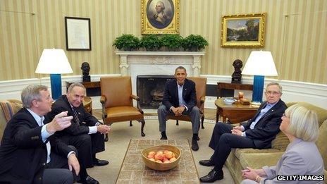 US President Barack Obama meets with Senate Democratic leadership, including (from left), Senator Dick Durbin, D-IL; Chuck Schumer, D-NY; and Senate Majority Leader Harry Reid, D-NV