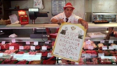 File photo of a butcher in the Scottish Borders advertising local butchers during the horsemeat scandal