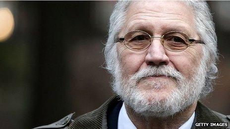 Dave Lee Travis arriving at court on Monday