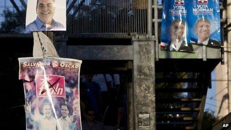Election posters in San Salvador, 31 January