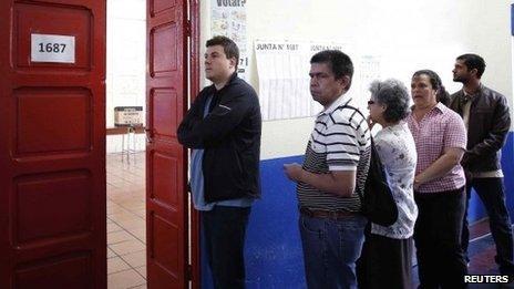 Voters queue in Costa Rica