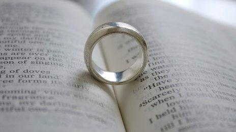 A wedding ring on the bible