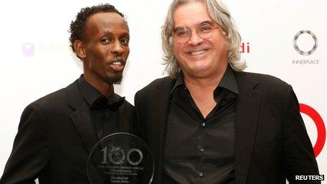 Barkhad Abdi with Captain Phillips director Paul Greengrass