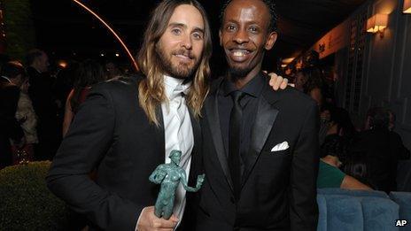 Jared Leto and Barkhad Abdi at the Screen Actors Guild awards gala