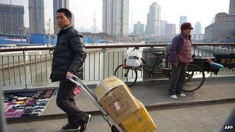 Across a bridge in Shanghai, January 2014