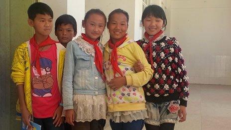 Pupils at Qiao Tou Lian He elementary school