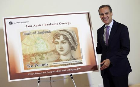 Mark Carney, the governor of the Bank of England, unveils the new Jane Austen-illustrated £10 note