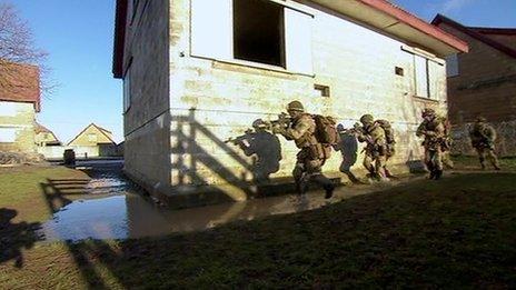 British soldiers training on Salisbury Plain