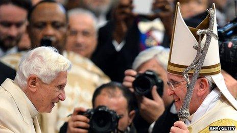Former Pope Benedict XVI with Pope Francis
