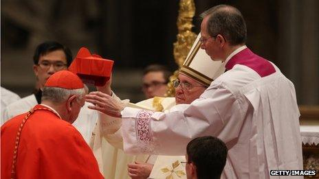 Cardinal Vincent Nichols receiving his biretta