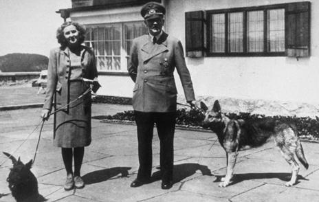 Hitler and Eva Braun and their dogs