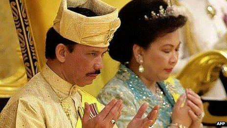 The Sultan of Brunei, Hassanal Bolkiah, with former wife Mariam Aziz