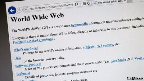 A 1992 copy of the world's first web page