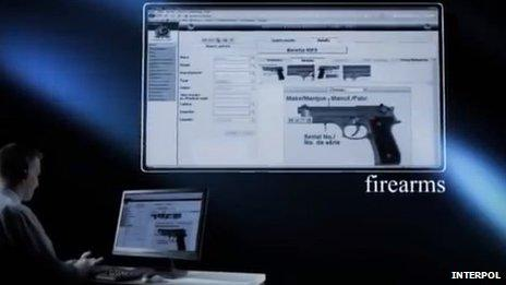 Firearms slide from Interpol video