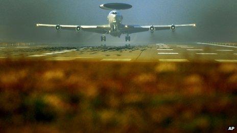 A Nato AWACS plane takes off the NATO Airbase in Geilenkirchen, Germany,