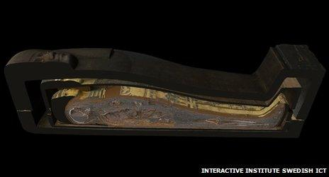 Visitors can also cut through the coffins and mummy in cross-section
