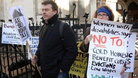 People protesting in London