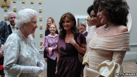 Kate O'Mara with the Queen and Joan Collins