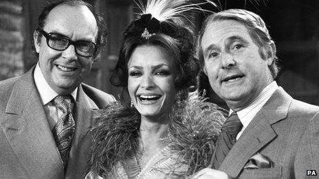"Ernie Wise and Eric Morecambe with Kate O""Mara"