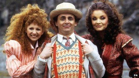 (l-r) Bonnie Langford, Sylvester McCoy and Kate O'Mara, 1987