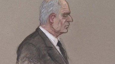 Artist's impression of Malcolm Fyfield in Swansea Crown Court