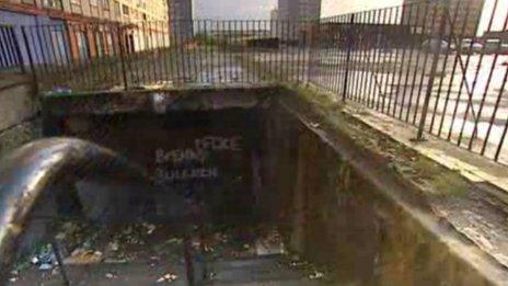 Graffiti and litter around the Red Road flats