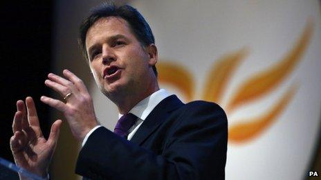 Nick Clegg at the 2013 Lib Dem annual conference