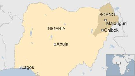 A map showing Borno state and the town of Chibok in Nigeria