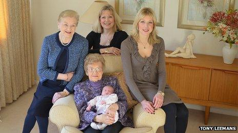 Dolly Saville with four generations of her family