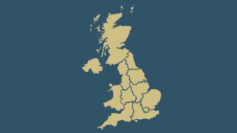 Map: UK government regions