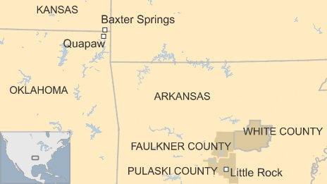 Map of Arkansas, Oklahoma and Kansas