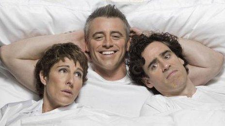 Tamsin Greig, Matt Le Blanc and Stephen Mangan in Episodes