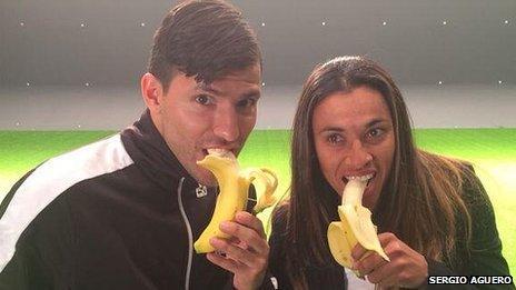 Argentine striker Sergio Aguero and Brazilian footballer Marta Vieira da Silva