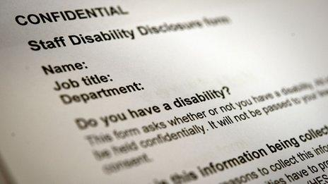 """A disability disclosure form, with the question: """"Do you have a disability?"""""""