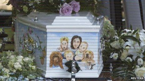 Peaches Geldof's coffin arrives for her funeral service
