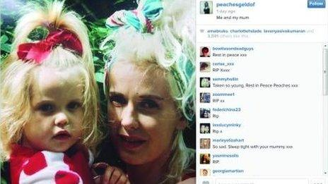 Instagram tweet from Peaches Geldof account