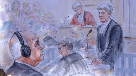 Court artist photo from Stuart Hall trial