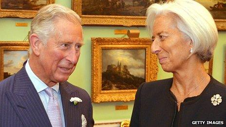 Prince Charles, Prince of Wales talks to Christine Lagarde, Managing Director of the International Monetary Fund