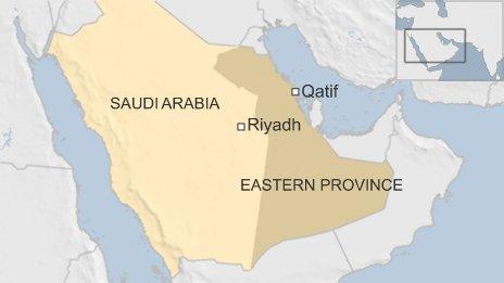 Map of Saudi Arabia showing Qatif