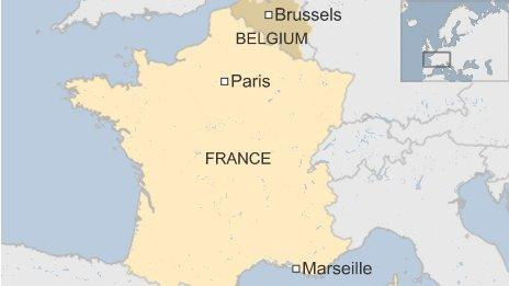Map of Marseille and Brussels