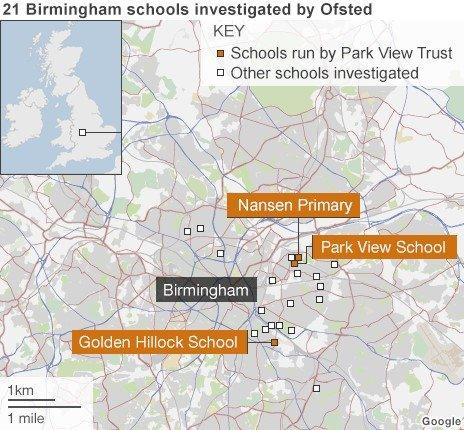 Map of 21 schools