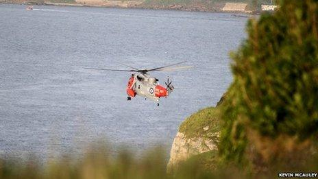 The boy was taken to hospital by helicopter