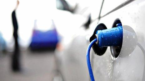 Electric car plugged in