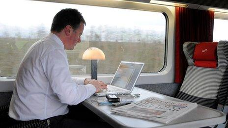 Businessman using computer on a train