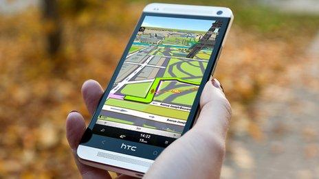 Sygic's app on a mobile phone