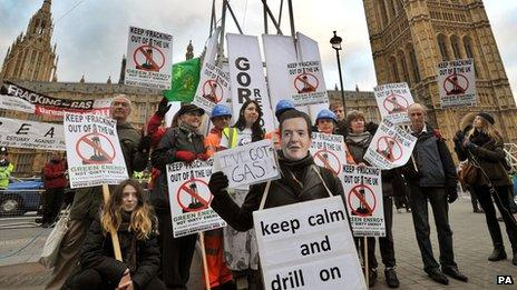 Anti-fracking protest outside the Houses of Parliament in December 2012