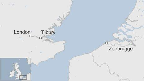 Map with Tilbury and Zeebrugge