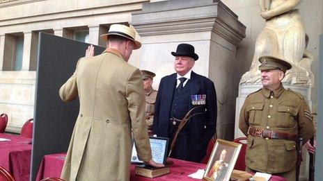 Re-enactment of Liverpool Pals signing up
