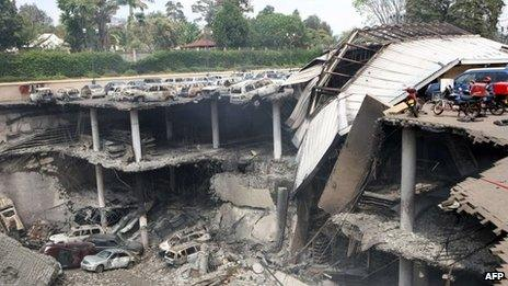 The destroyed Westgate mall photographed on 26 September 2013 in Nairobi, Kenya